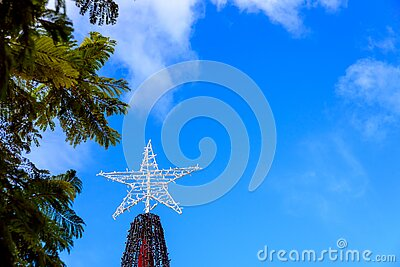 A star atop a Christmas tree, against the blue sky outdoors