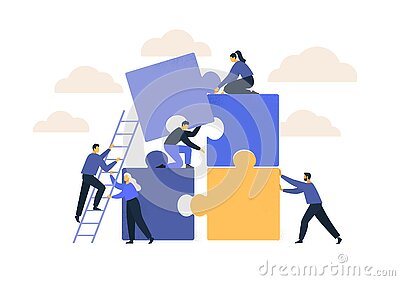 Business concept. Team metaphor. people connecting puzzle elements. Vector illustration flat design style. Symbol of