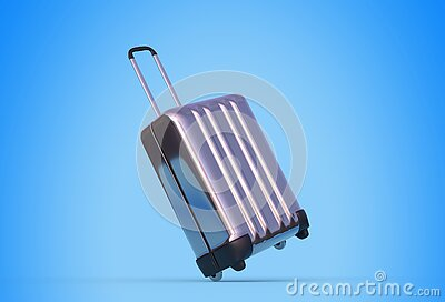 Trolley case with wheels on blue background