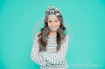 Just look at me. Princess concept. Girl princess. Lady small baby princess. Number one. Kid wear golden crown symbol of