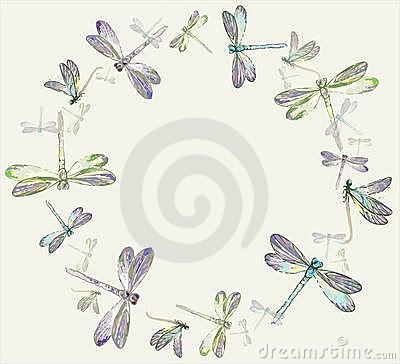 Beautiful decorative framework with dragonfly.Gree