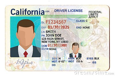 California Driver License filled with generic info