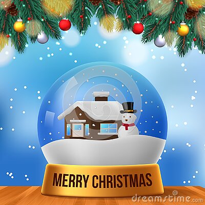 Christmas scene home snowman snow globe with blue sky background and fir leaves garland and wood table perfect festive decoration