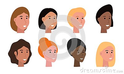 Set of smiling faces of woman of various ethnicity and with different skin tone and haircuts