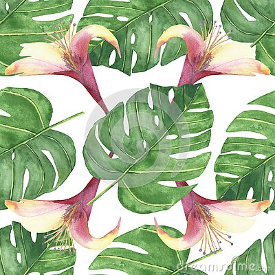 Watercolor hand painted nature tropical plant seamless pattern with green palm leaves and pink blossom honeysuckle flowers