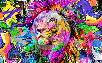 Abstract creative illustration with colorful lion