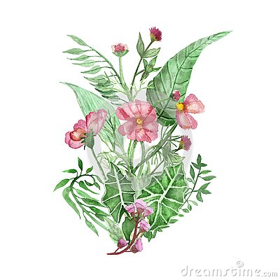 Watercolor hand painted nature floral tropical bouquet with green palm and eucalyptus leaves and pink blossom garden flower compos