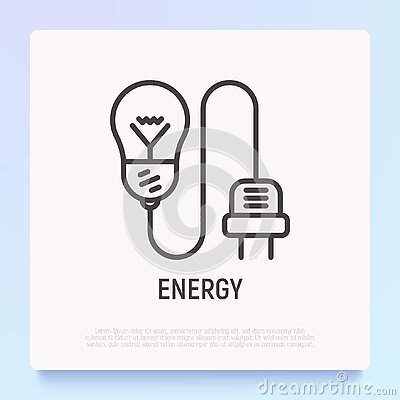 Light bulb with plug thin line icon. Modern vector illustration of electicity, innovation, communication
