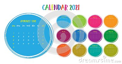 Calendar annual vector template year 2021 for office, layout corporate and company with circle.