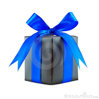 Black gift wrapped present with blue bow