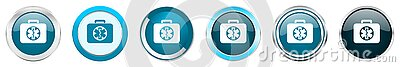 Rescue kit silver metallic chrome border icons in 6 options, set of web blue round buttons isolated on white background