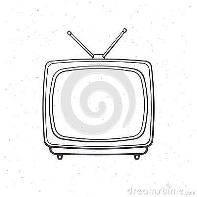 Analogue retro TV with antenna and plastic body. Outline. Vector illustration. Television box for news and show translation