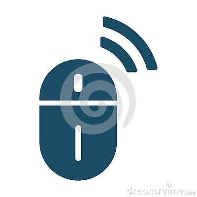 High quality dark blue flat wireless mouse icon