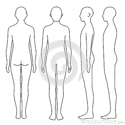 Human body outline, front, back and side, vector file set