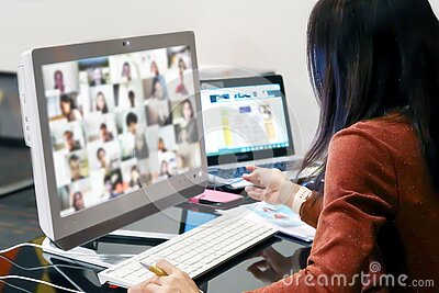 Office women using computer laptop for online meetings