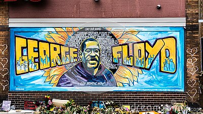 George Floyd mural artwork in Minneapolis, Minnesota after the black lives matter protests and riots.