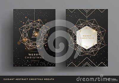 Christmas card gold and black background design. Stylized christmas wreath and christmas tree modern design. Elegant line art
