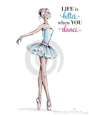 Hand drawn beautiful dancing woman. Pretty ballerina. Girl in pink point shoes. Ballerina in blue dress. Beautiful balet dancer.