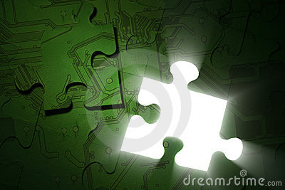 stock image of electronics puzzle