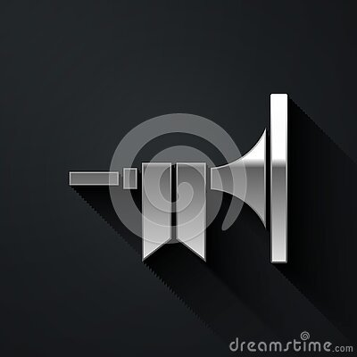 Silver Musical instrument trumpet icon isolated on black background. Long shadow style. Vector