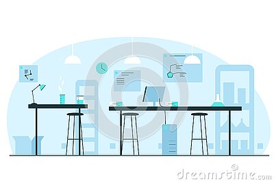 Chemical laboratory interior. Vector concept illustration of a scince lab interior with desks, chairs, tubes, flasks, computer,