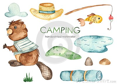 Camping watercolor set with cute beaver, fishing rod, pond, fish, hat, hill