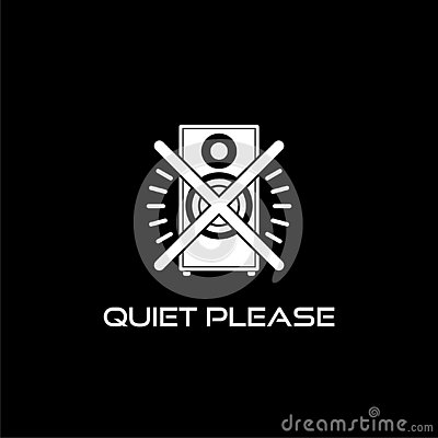 Quiet please sign. Keep silence icon isolated on dark background