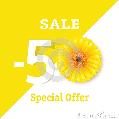 Sale Poster With Yellow Gerber