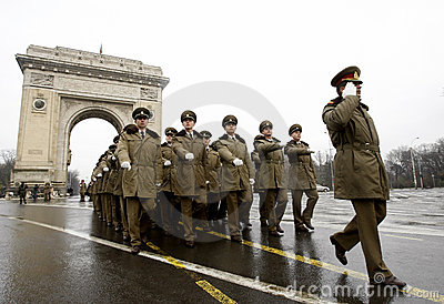 Military parade officers at the Triumphal Arch