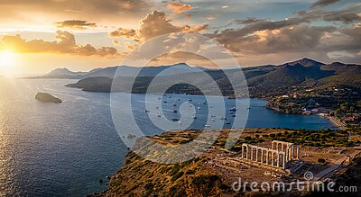 Panoramic view of the Temple of Poseidon at Cape Sounion at the edge of Attica, Greece