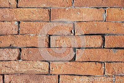Closeup architechure of Red brick wall background