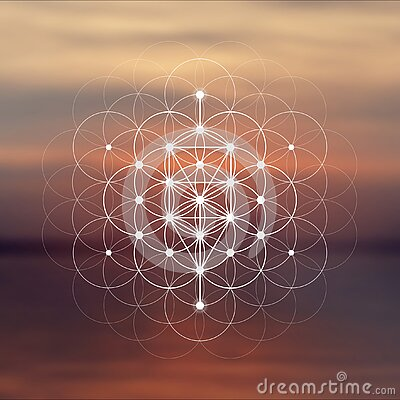 Flower of life sacred geometry illustration with intelocking circles and light dots in front of photographic background. Hipster