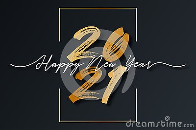 2021 New Year script text with frame. Happy New Year and Merry Christmas lettering for holiday card and celebration design. Vector