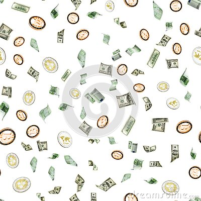 Money falling seamless pattern background. American, Euro Banknote cash. Bitcoin Cryptocurrency isolated on white