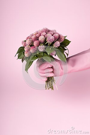 Hands in pink rubber gloves is holding a dried Fall flowers bouquet on light pink background