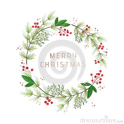 Winter wreath vintage, Christmas holiday design greeting card template. Green pine, cotton flowers, holly berry