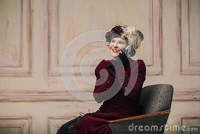 Modern trendy look of Portrait of an Unknown Woman. Retro style, comparison of eras concept.