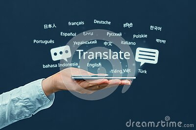 The concept of a program for translating in a smartphone from different languages