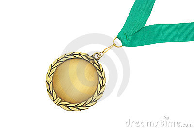 Gold medal with green ribbon isolated