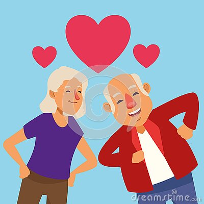 Old lovers couple dancing with hearts active seniors characters