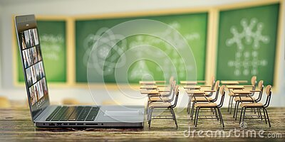Online education and e-learning concept. Home quarantine distance learning. Laptop and school desks on blackdesk in classroom