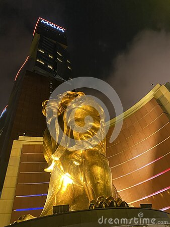 Macau MGM Macao Mgm Casino Hotel Gold Giant Golden Lion Sculpture Statue Entrance Outdoor