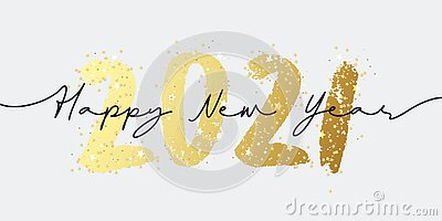 Happy New Year 2021 illustration background for new year`s eve and seasonal holidays flyers, greetings and invitations