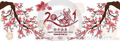 Set Banner Happy new year 2021 greeting card and chinese new year of the Ox, Cherry blossom background Chinese translation Happy