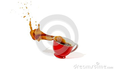Hot coffee red cup spilling and coffee water splash isolated on white background with shadow