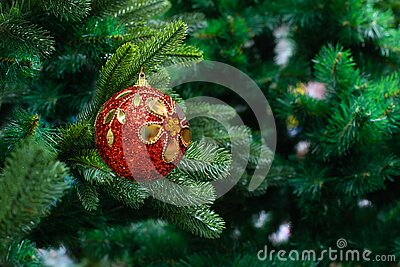 A branch of a Christmas tree with a red gold ball shining with glitter. Festive Christmas background design. New year holiday,