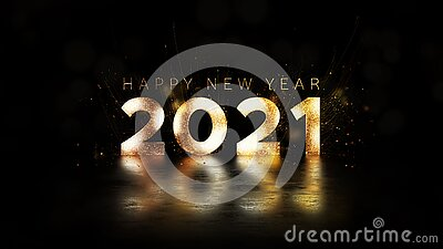 Happy New Year 2021 golden particles bokeh black background new year resolution concept.