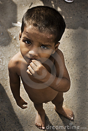 Destitute child on Indian road