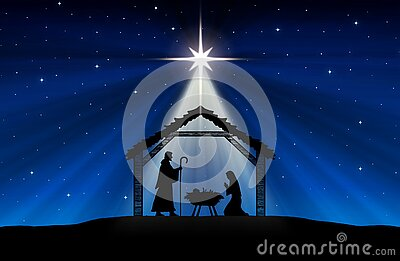 Blue Christmas greeting card banner background with Nativity Scene in the desert.