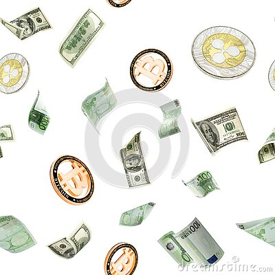 Banknote european cash seamless pattern. Falling American Dollar, Bitcoin money on white. Cryptocurrency business background